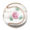 Glass Lamp Bead 12mm Round Crystal/Rose